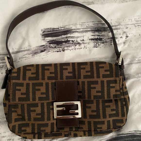 Fendi Handbags - FENDI Zucca Pattern Baguette Purse Brown Canvas
